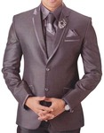 Mens Gray 6 pc Tuxedo Suit Classic Look