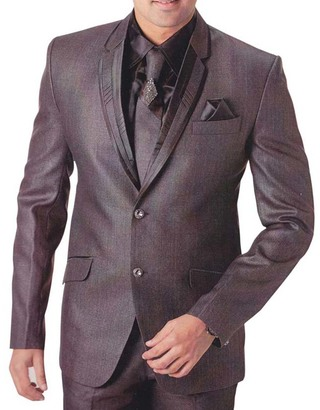 Mens Gray Polyester 6 pc Tuxedo Suit Partywear