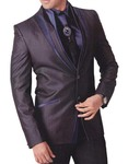 Mens Purple Gray 5 pc Tuxedo Suit Patch Work