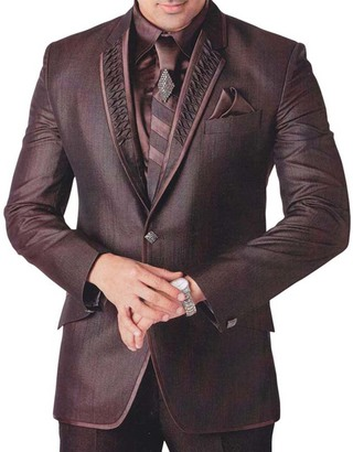 Mens Brown 6 Pc Tuxedo Royal Engagement