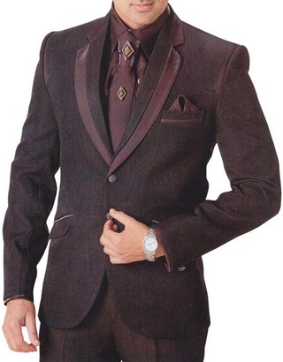 Mens Burgundy 7 Pc Tuxedo Slim And Fit