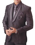 Mens Brown 6 pc Tuxedo Party Wear Two Button