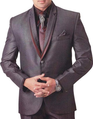 Mens Purple Gray 6 Pc Tuxedo Suit Festival Partywear
