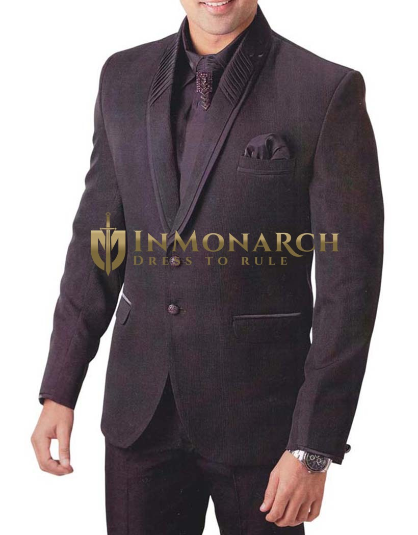 Mens Wine 6 Pc Tuxedo Suit Unique Party