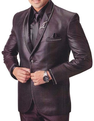 Mens Purple Wine 6 Pc Tuxedo Suit Trendy Designer