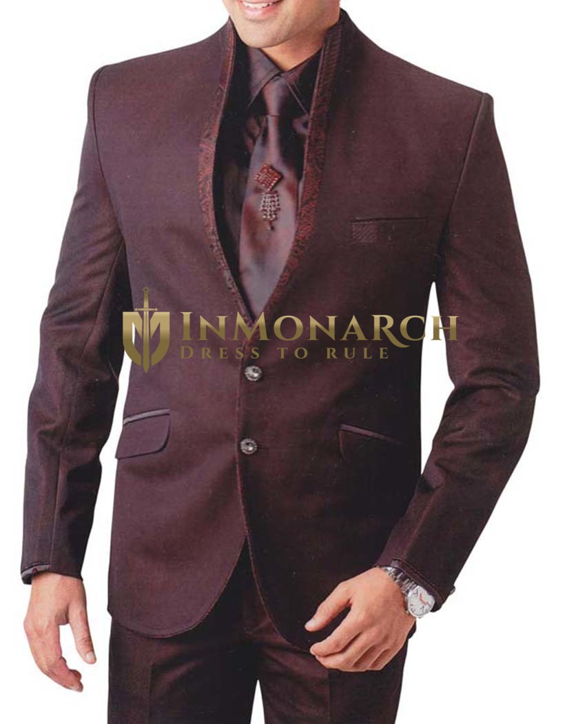 Mens Burgundy 5 Pc Tuxedo Suit High Neck Style