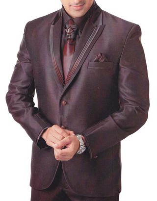 Mens Wine 6 Pc Tuxedo Suit Traditional Style
