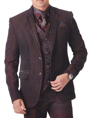Mens Brown 7 pc Polyester Tuxedo Unique Look