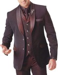 Mens Brown 6 Pc Tuxedo Gentleman Choice