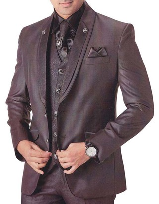 Mens Brown 7 pc Tuxedo Suit Glamorous Look