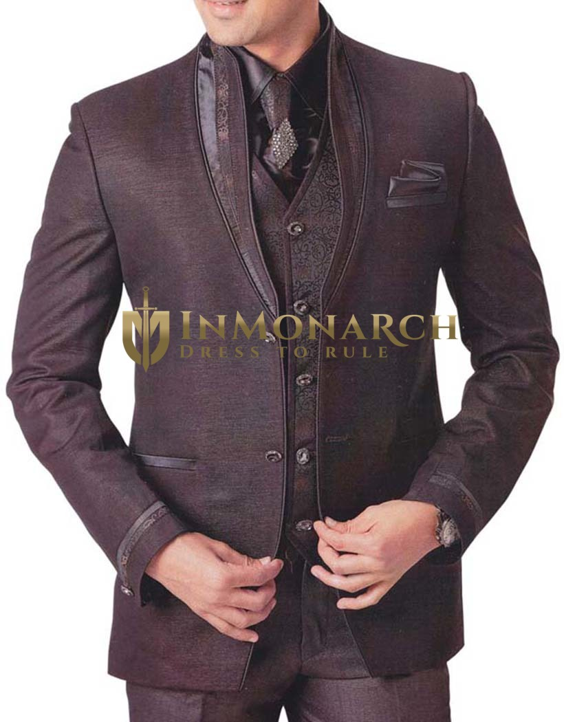 Mens Brown 7 Pc Tuxedo Suit Reception