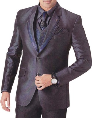 Mens Purple Wine 7 Pc Tuxedo Suit Reception