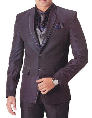 Mens Purple Wine 7 Pc Tuxedo Suit Trimmed