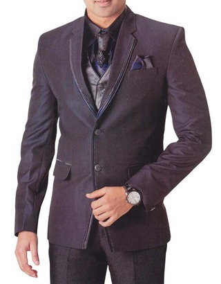Mens Purple Wine 7 Pc Tuxedo Suit Trimmed