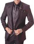 Mens Brown 7 Pc Tuxedo Suit Wedding