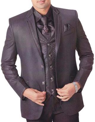 Mens Purple Gray 7 Pc Tuxedo Party Wear