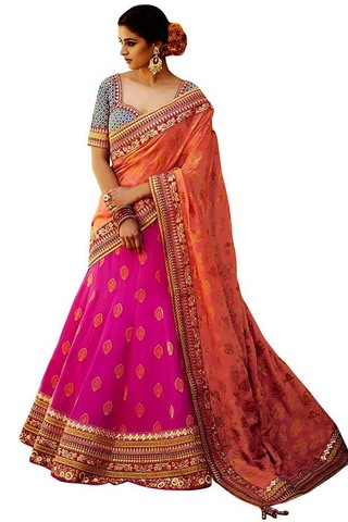 Pure Silk Magenta Bridal Lehenga Choli