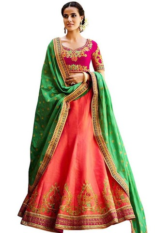 Crimson Red and Purple Designer Lehenga Choli