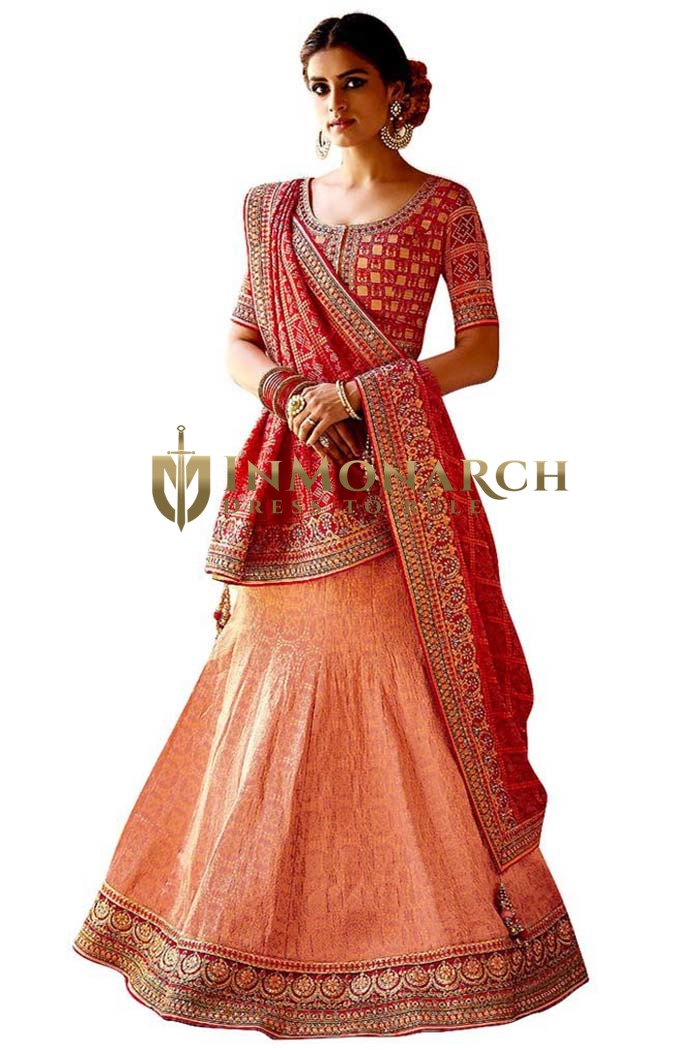 Peach and Red Designer Lehenga Choli