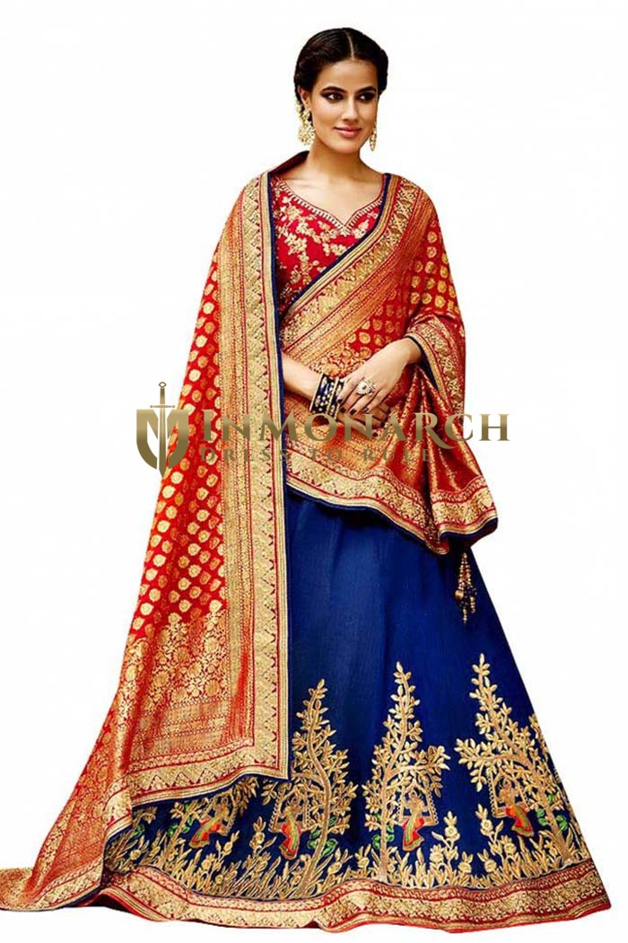 Navy Blue & Red Embroidered Lehenga Choli