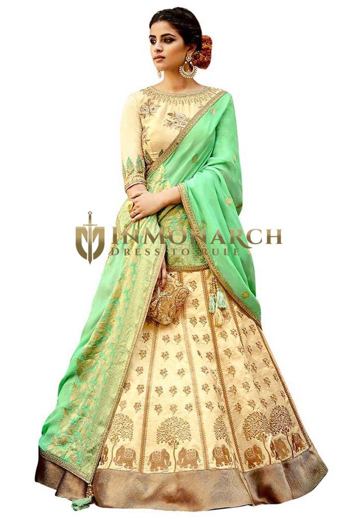 Stunning Beige Silk Jacquard Lehenga Choli