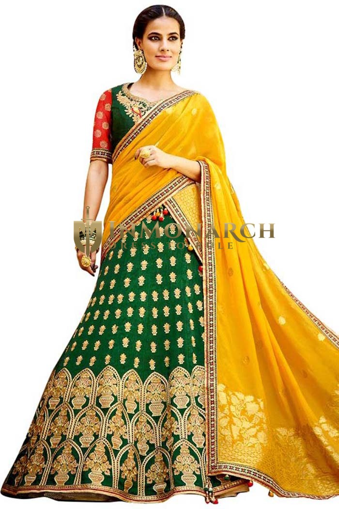 Green and Yellow Embroidered Lehenga