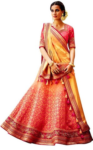 Designer Peach & Yellow Embroidered Lehenga