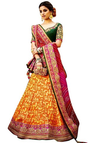 Yellow and Pink Pure Silk Lehenga Choli