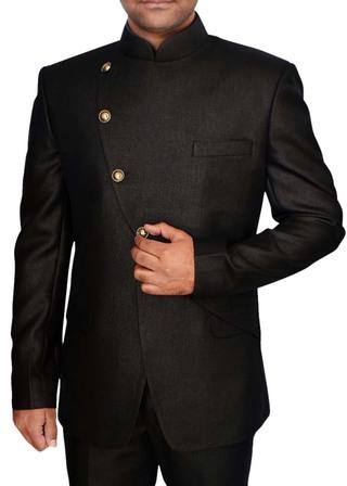 Mens Brown 2 Pc Jodhpuri Suit Angrakha Pattern