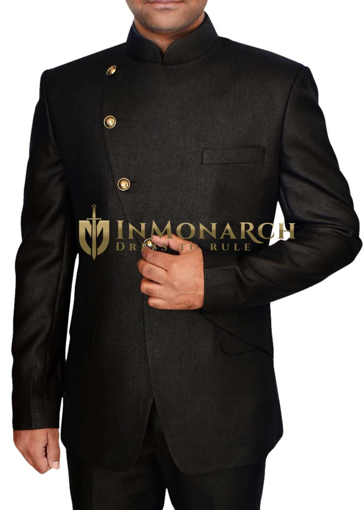 Mens Brown 2 Pc Jodhpuri Suit Angrakha Pattern