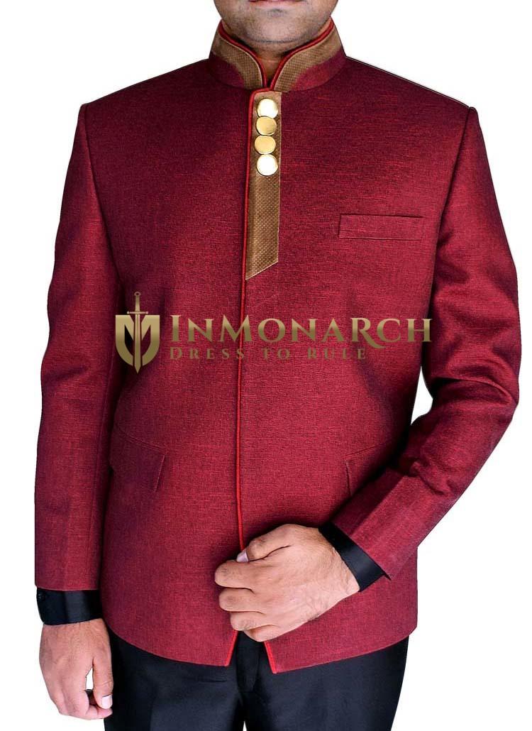 Mens Burgundy 2 Pc Jodhpuri Suit Exclusive Piping Pattern