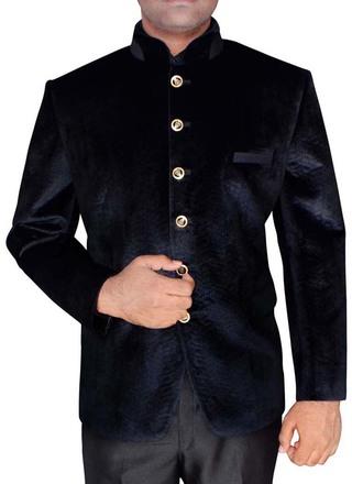 Mens Black Threading Work Velvet Jodhpuri Suit