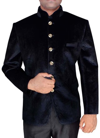 Mens Black Threading Work Velvet Jodhpuri Suit