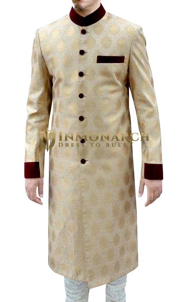 Mens Golden Brocade 2 Pc Sherwani