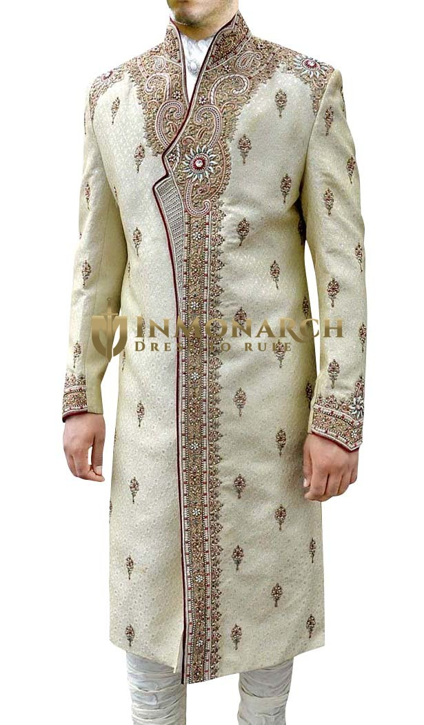 Mens Beige 4 Pc Sherwani Heavy Designer