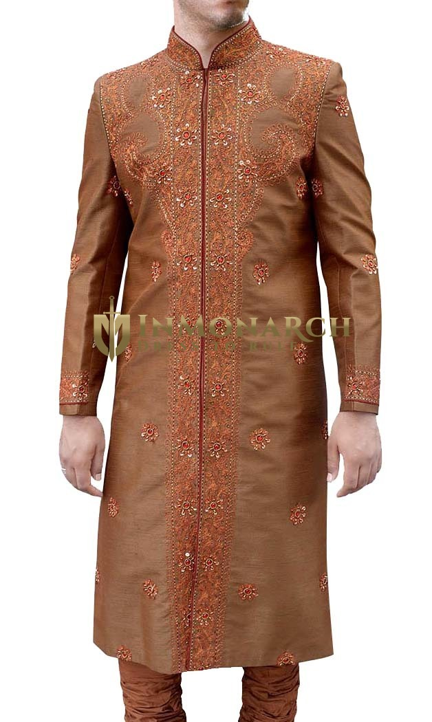 Mens Copper 2 Pc Wedding Sherwani Gorgeous