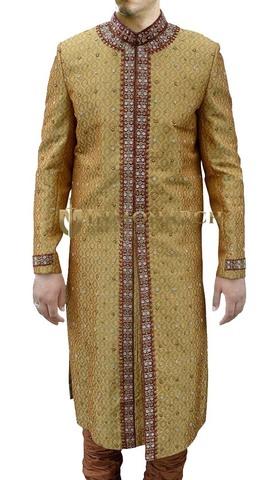 Mens Golden 2 Pc Sherwani Nehru Collar