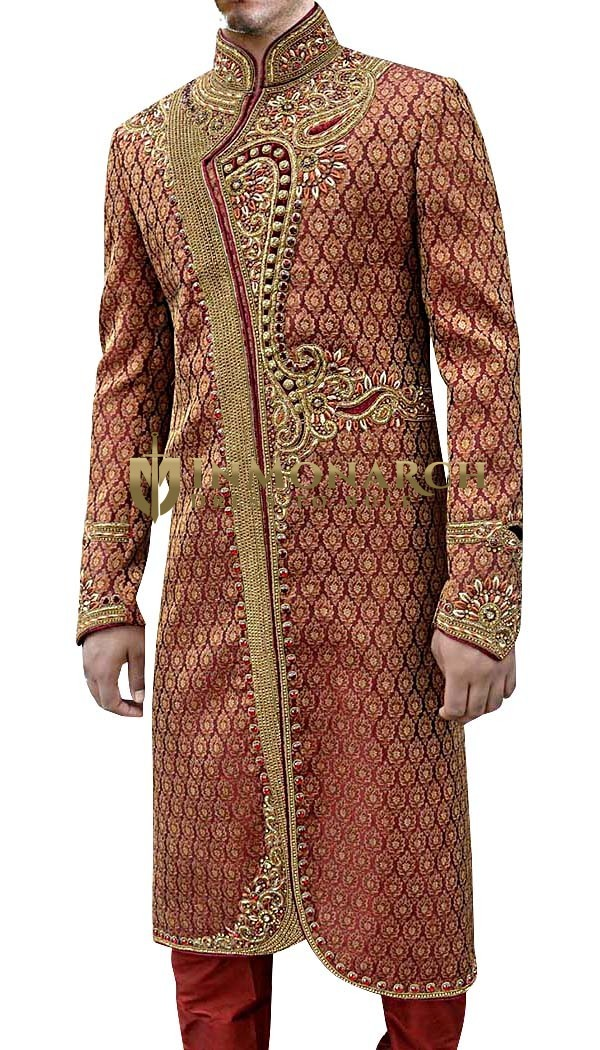 Mens Red 2 Pc Sherwani Prince Look