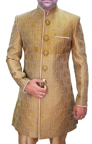 Sherwani for Men Wedding Golden Indo Western Wedding Sherwani