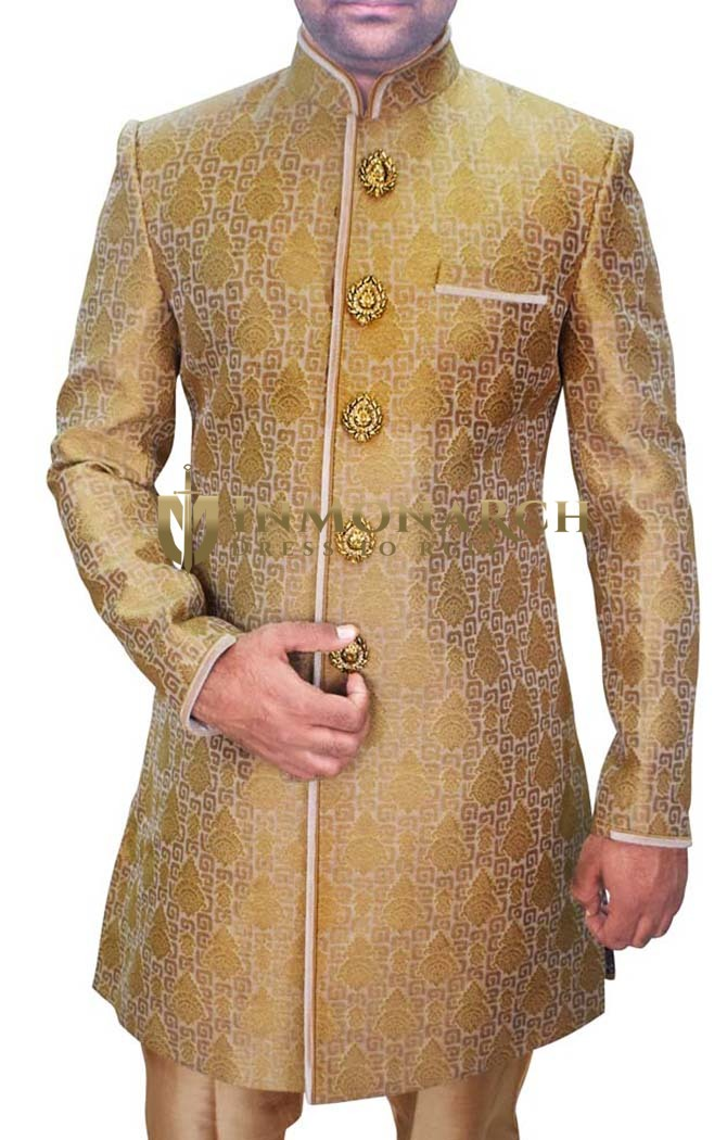 Mens Golden 5 Button 2 Pc Indo Western Wedding