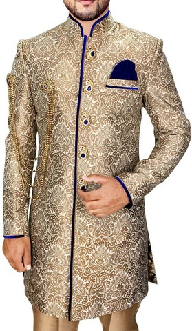 Mens Beige 4 Pc Indo Western Attractive 5 Button