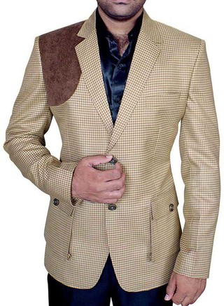 Mens Slim fit Casual Brown Check Blazer sport jacket coat Designer Two Button