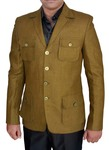 Mens Slim fit Casual Khakhi Linen Blazer sport jacket coat Safari 4 Pocket