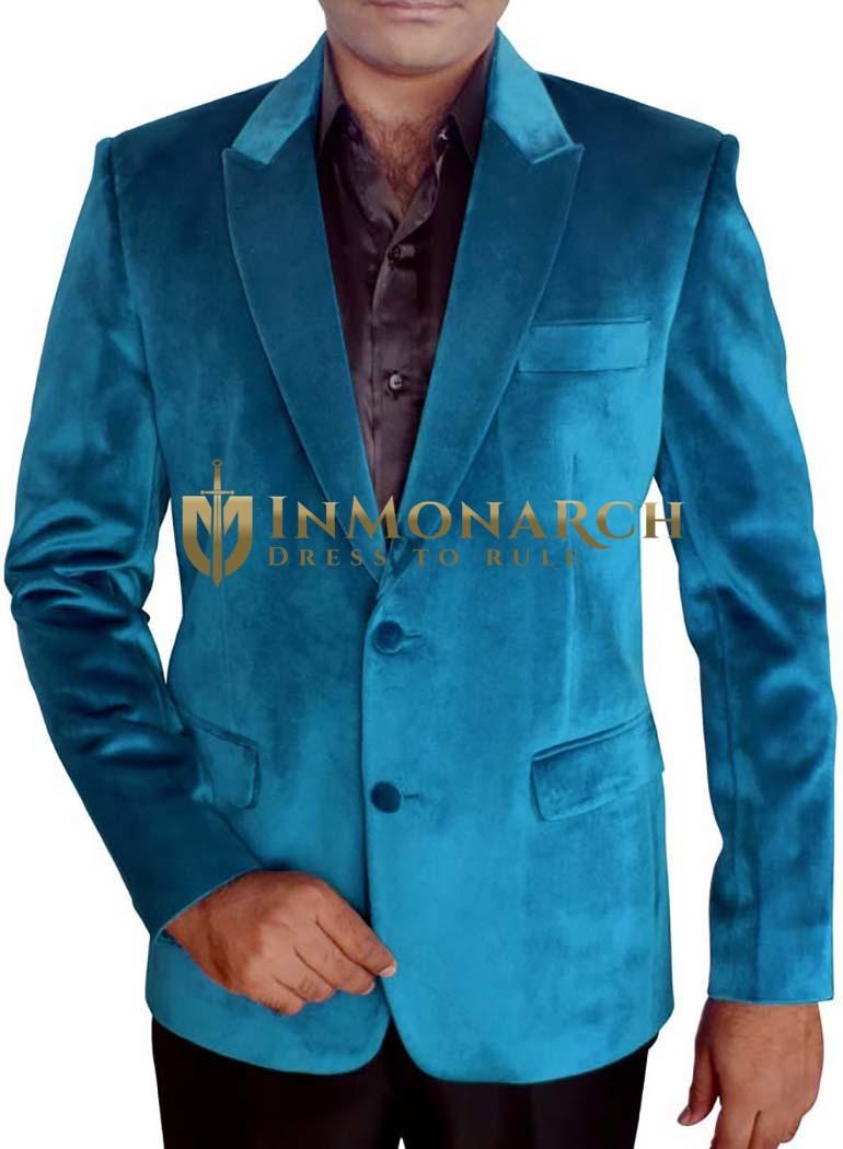 Mens Slim fit Casual Steel blue Velvet Blazer sport jacket coat Modern 2 Button