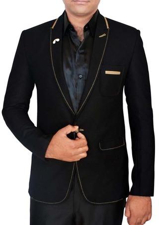 Mens Black Single Button Blazer Professional Style