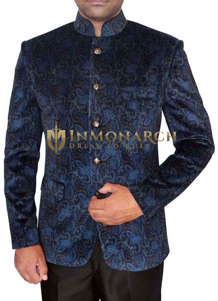 Mens Steel Blue Velvet Nehru Jacket Party Wear