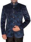 Mens Steel Blue Velvet Nehru Jacket Party Wear