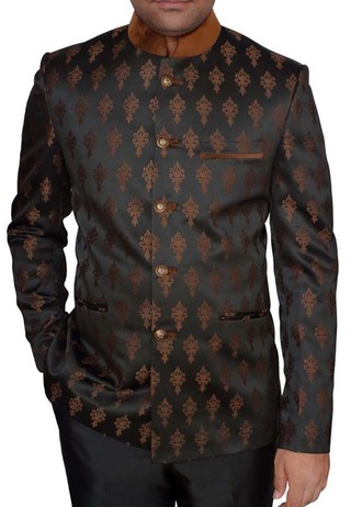 Mens Black Flower Print Nehru Jacket Classic