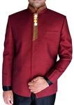 Mens Burgundy Nehru Jacket Red Piping