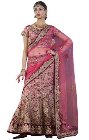 Pink Velvet and Silk Bridal Lehenga